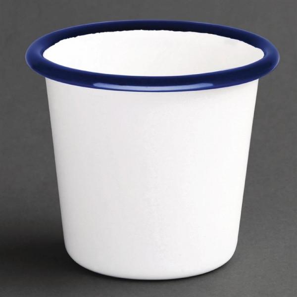 Olympia emaillierte Saucenbecher weiß-blau 11,4cl