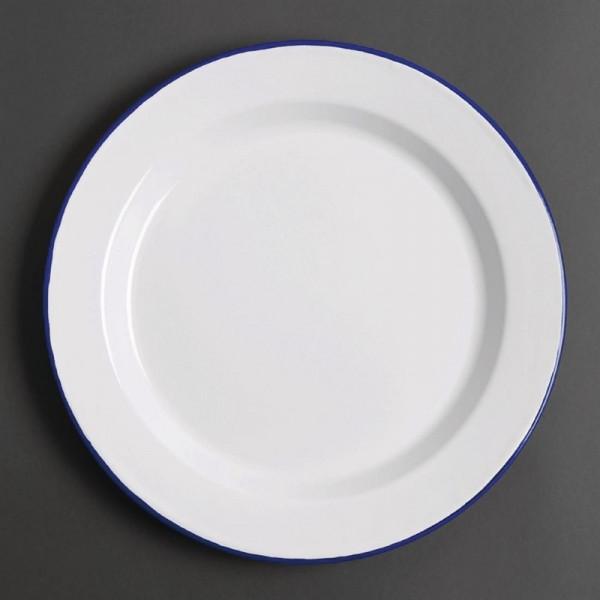 Olympia emaillierte Essteller weiß-blau 30cm