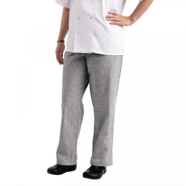 Chef Works Unisex Kochhose Easyfit schwarz weiß kleinkariert XS