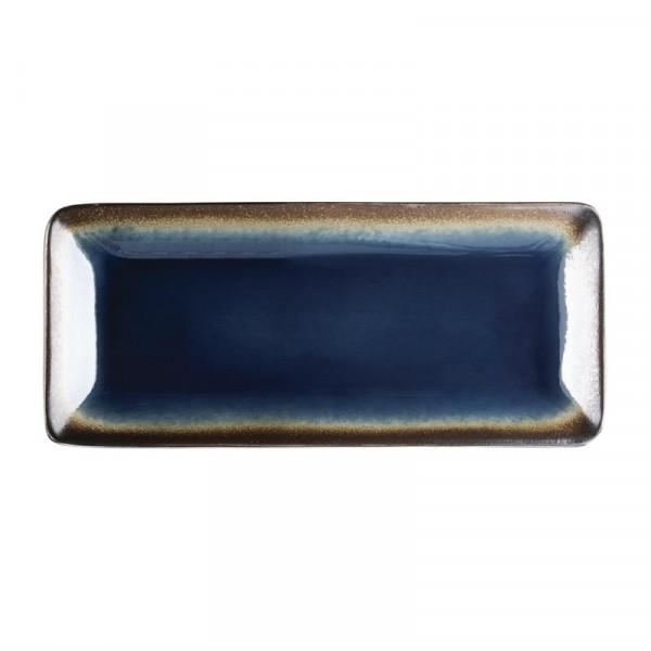Olympia Nomi rechteckige Tapasteller blau-schwarz 24,5 x 11cm