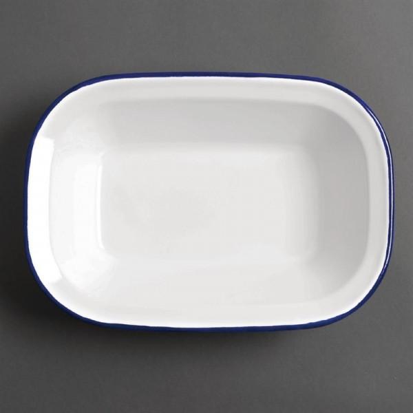 Olympia rechteckige Speiseschale weiß-blau 19 x 28cm
