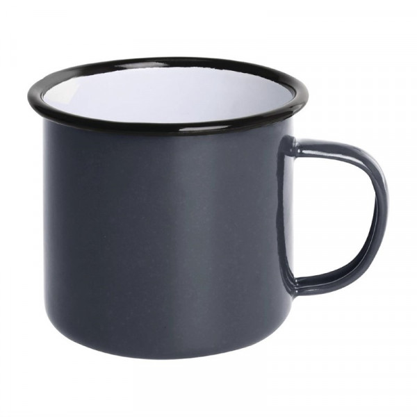 Olympia emaillierte Tassen grau-schwarz 35cl