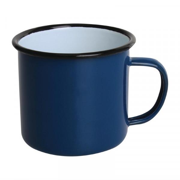 Olympia emaillierte Tassen blau-schwarz 35cl