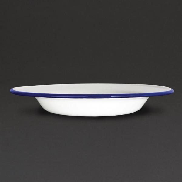 Olympia emaillierte Suppenteller weiß-blau 24,5cm