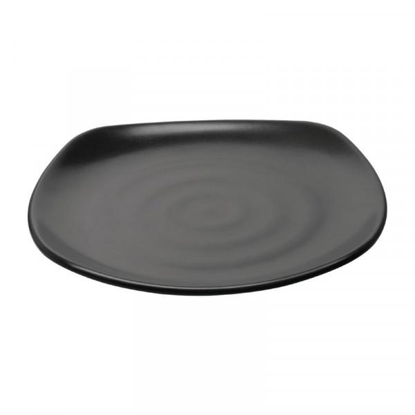 Kristallon Fusion Melamin Quadratischer Teller mit abgerundeten Ecken schwarz 25cm
